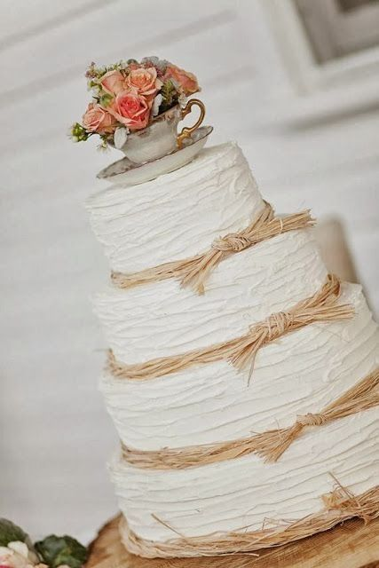 Twine with vintage topper #wedding #cake #ideas