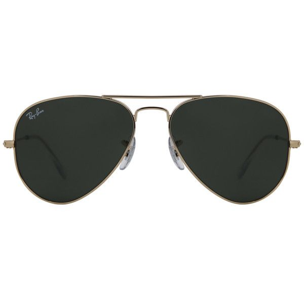 Ray-Ban RB3025 Aviator Large Metal W3234 Sunglasses ($115) ❤ liked on Polyvore featuring accessories, eyewear, sunglasses, green lens aviators, ray ban eyewear, green sunglasses, metal sunglasses and aviator style sunglasses