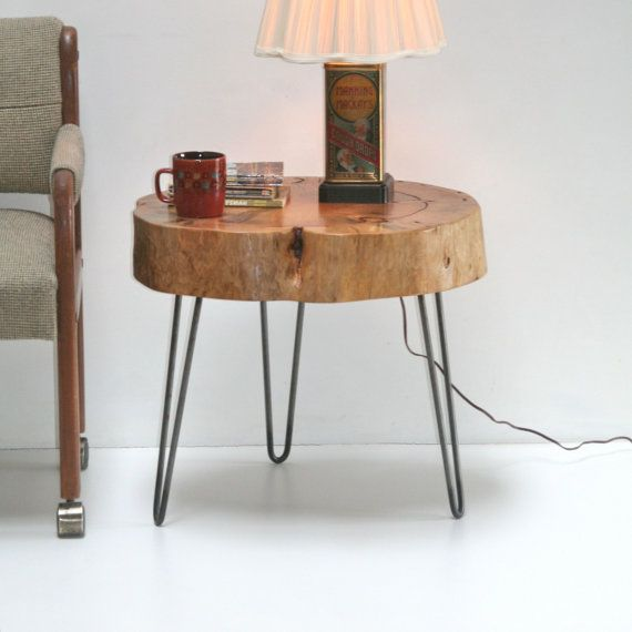 Stump tree slice side table eco friendly with minimalist steel hairpin legs coffee furniture on Eco friendly coffee table