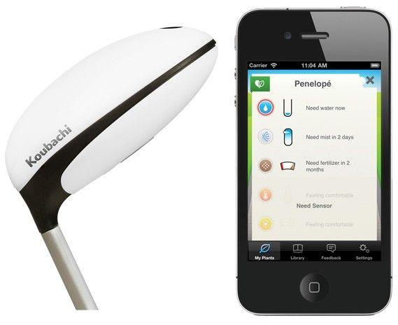 鉢植えがプッシュ通知で世話を求める WiFi センサー Koubachi     画像の植物の芽のようなものは、鉢植えに挿すと水やりや世話のタイミングをクラウド経由で伝えてくれるセンサー Koubachi Wi-Fi Plant Sensor 。水分・温度・照度の各センサーとWiFi 接続機能を備え、植物の状態を常時監視することで、 iOS アプリのプッシュ通知やウェブアプリ、メールなどを通じて世話のタイミングとアドバイスを送ってきます。