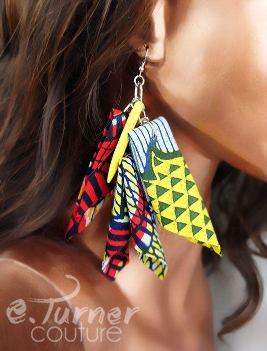 Tribal Earrings  Ankara Statement Earrings   by ETurnerCouture