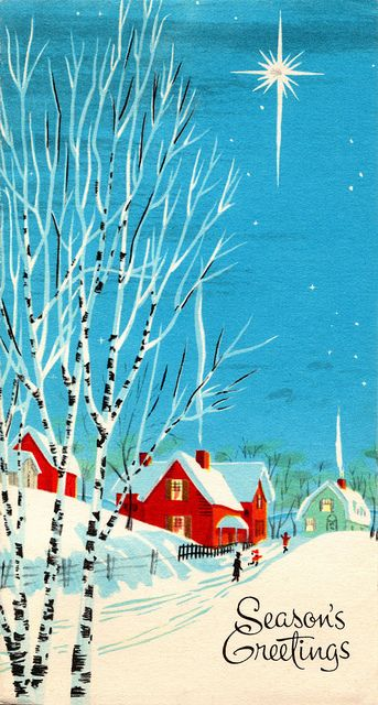 I have no explanation why but this picture makes me feel SO happy. Like home. Vintage 1960s Christmas Card - Snowy Street