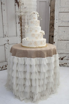 Wedding Cake Table....but use black tulle for the Halloween party!