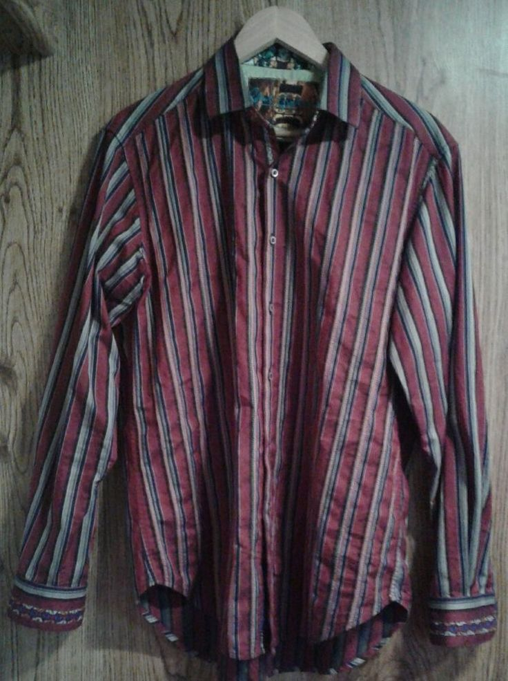 Robert Graham Burgundy with Stripes Button Up Shirt Med. Embroidered Flip Cuffs #RobertGraham #ButtonFront