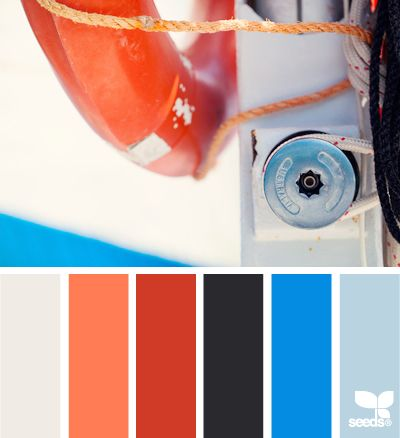 boating hues oranje en blauw zijn complementaire kleuren (kleuren, die tegenover elkaar in de kleurencirkel liggen). Complementaire kleuren geven pittige kleurcombinaties!