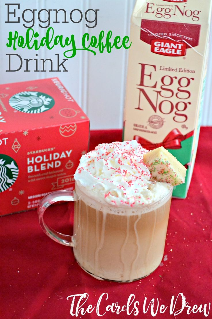 This yummy holiday coffee drink is the perfect mix of coffee and eggnog with Starbucks' new Holiday Blend, all topped off with a homemade shortbread cookie.