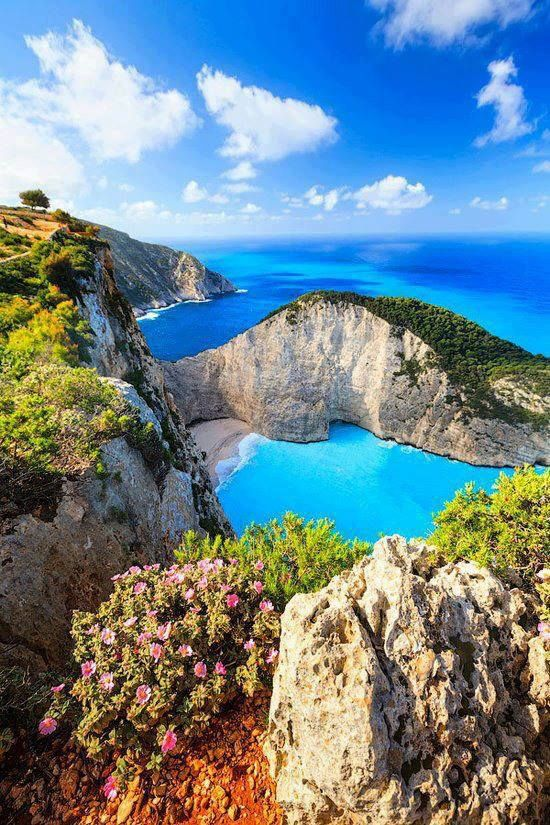 Navagio beach . There is a magical panoramic view of this spot from a platform installed on the top of the mountain right above it. To get there you must take the road to Volimes village and from there, follow the signs. Definitely a must-see and must-visit.