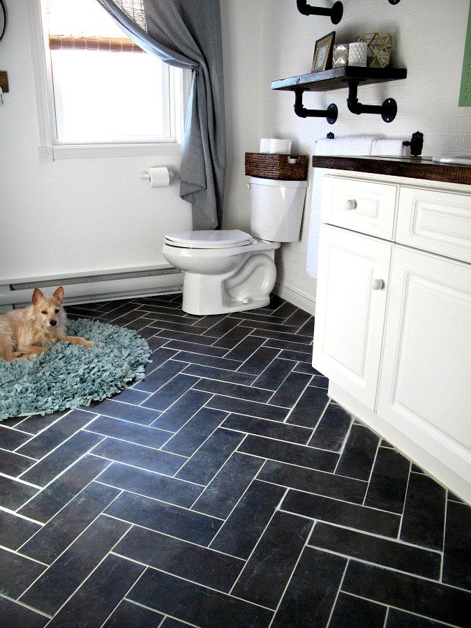 peel and stick tiles for bathroom part 30 update bathroom with diy herringbone floor - Peel And Stick Flooring