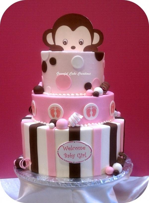 Peek A Boo Monkey Baby Shower Cake Girl Baby Shower Ideas Pinterest Girls Cakes And