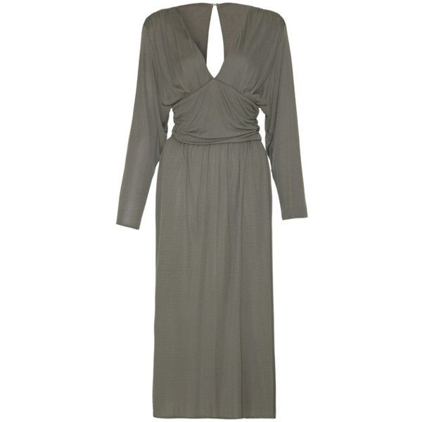 Pre-owned 1980's Roland Klein Grey Jersey Dress ($500) ❤ liked on Polyvore featuring dresses, cocktail dresses, evening dresses, vintage dresses, gray cocktail dress, plunging v neck dress, ruched cocktail dress and 80s dress