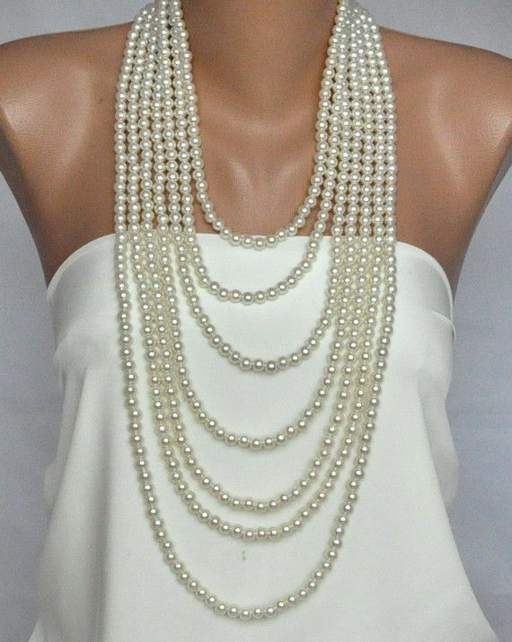 Handmade Weddings Pearl Necklace  brides  bridesmaids by kirevi8,  for my mother on my wedding day..