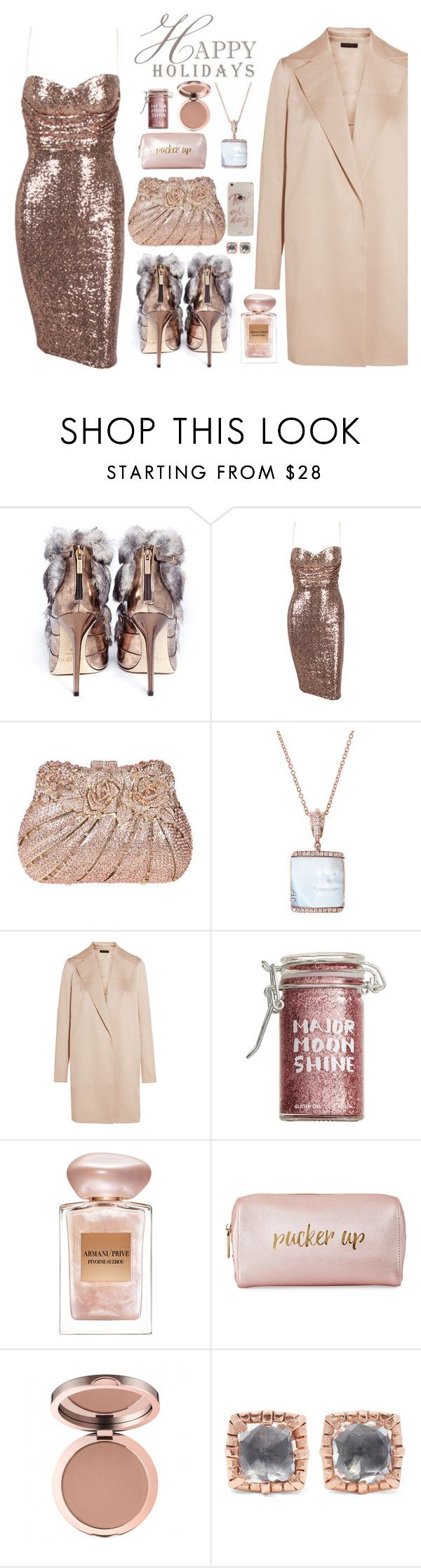 """""""Glitter for the Holidays"""" by seafreak83 on Polyvore featuring Jimmy Choo, Socheec, The Row, Major Moonshine, Giorgio Armani, Neiman Marcus, Larkspur & Hawk and Sonix"""