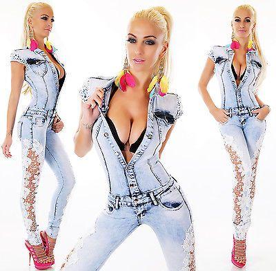 SeXy Damen JEANS OVERALL Jumpsuit jeansoverall SPITZE HELLBLAU XS S M L XL NEU | Jeans | Damenmode - Zeppy.io