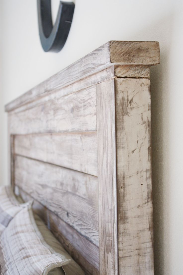 "DIY Headboard using cheaper birch lumber and then distressed using tea, steel wool & vinegar concoction and sealed with a clear wax... love the ""old"" distressed look"