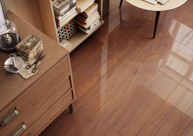 La Faenze These polished porcelain timber look tiles are 1200mm long and have a beautiful shine.
