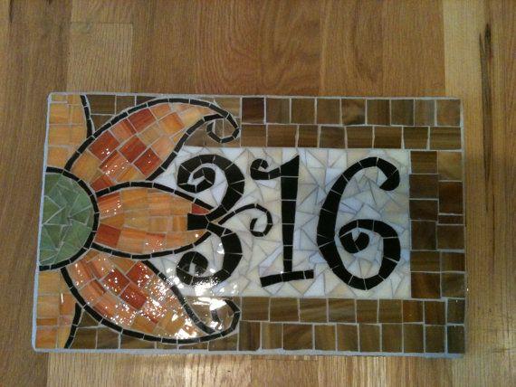 Custom Mosaic Address Plaque by melissaforcier on Etsy, $104.00