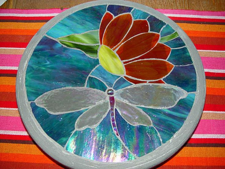 dragonfly stepping stone - stained glass