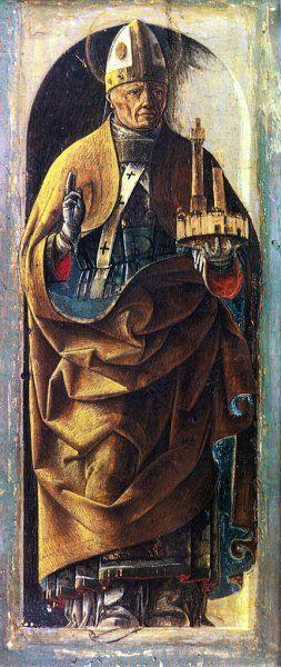 Ercole de' Roberti - San Petronio (colonne laterali Polittico Griffoni) - 1473 - Pinacoteca Nazionale di Ferrara