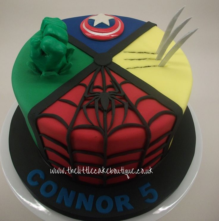 Marvel Avengers Birthday Cake with Hulk fist, Wolverine, Spiderman and Captain America