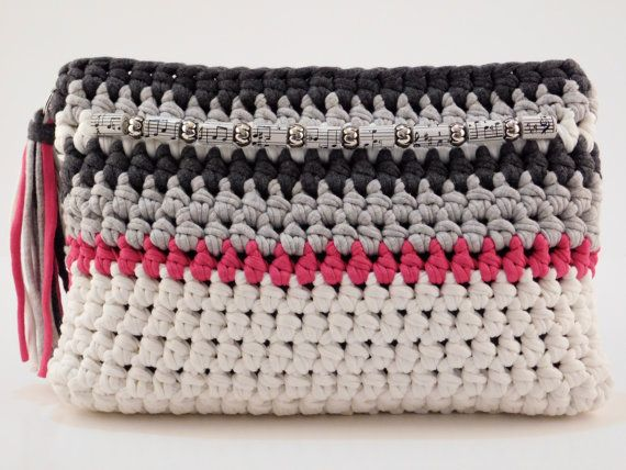 Multi-Coloured Crochet Clutch Embellished by SimpleCozyComforts