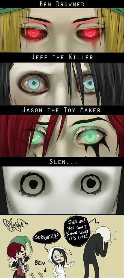 Creepypasta eyes. Ben Drowned, Jeff The Killer, Jason The Toy Maker, Slen…