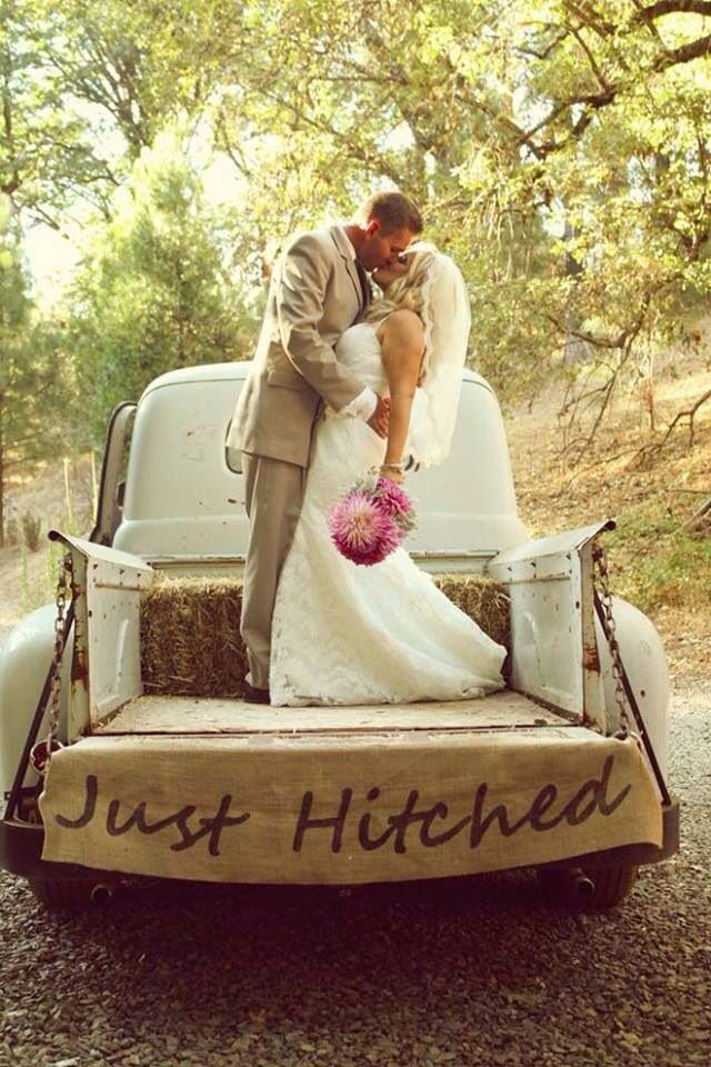 Wedding just hitched back of truck