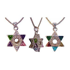 Wholesale Christian Gifts Star Of David With Cz Multi Color Stones Pack Of 1