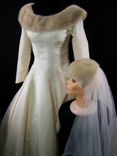 VTG 60's Blonde Mink Trim Ivory Princess Winter Wedding Bridal Dress Gown w Veil | eBay