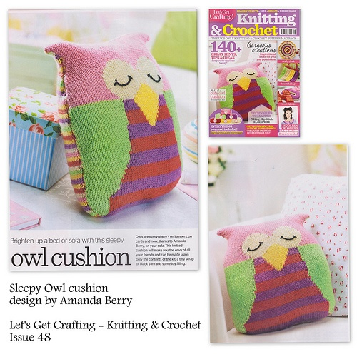 Sleepy Owl cushion knitting pattern, design by Amanda Berry, Let's Get Crafting Knitting & Crochet magazine issue 48