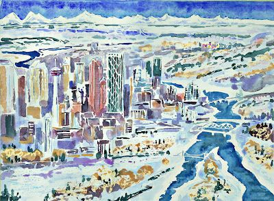 Landing in Calgary Watercolour, crayon and marker ©2012 Charlene Brown, 1150 words