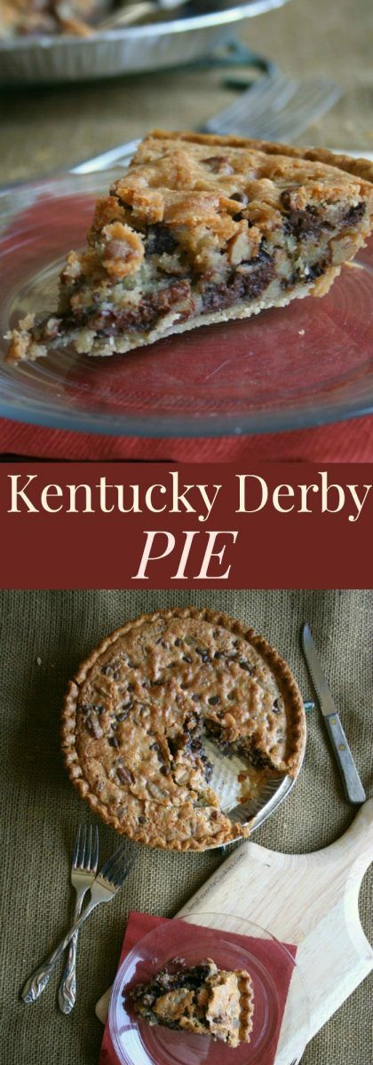 Kentucky Derby Pie - like a chocolate chip cookie in a pie crust! The ultimate dessert recipe!   cupcakesandkalech...