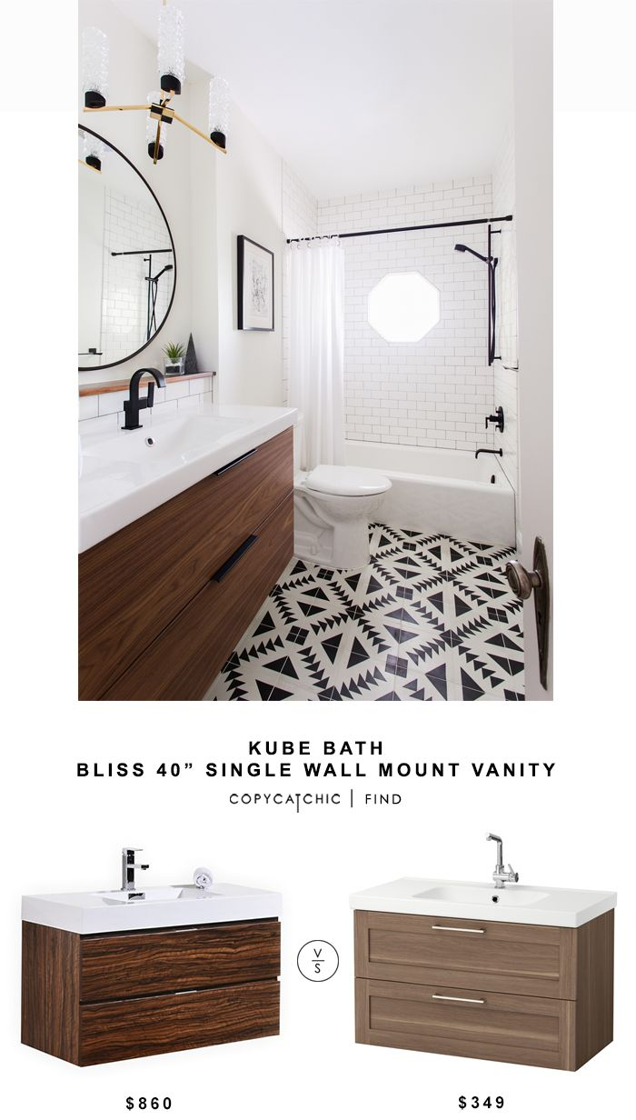 Kube Bath Single Wall Mount Vanity for $860 vs Ikea Godmorgon Odensvik Sink Cabinet for $349 @copycatchic look for less budget home decor design chic find http://www.copycatchic.com/2016/11/kube-bath-bliss-single-wall-mount-vanity-copycatchic-look-for-less.html?utm_campaign=coschedule&utm_source=pinterest&utm_medium=Copy%20Cat%20Chic&utm_content=Kube%20Bath%20Bliss%2040%22%20Single%20Wall%20Mount%20Vanity
