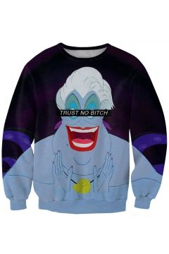 White Hair Monster Print Grape Sweatshirt
