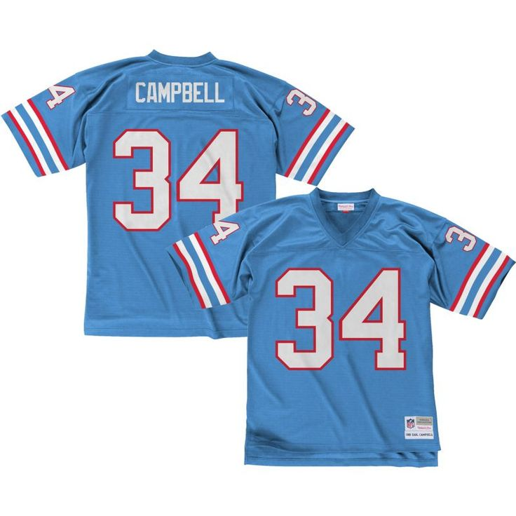 Mitchell & Ness Men's 1980 Home Game Jersey Houston Oilers Earl Campbell #34, Size: Medium, Multi