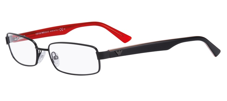 Stylishly simple. A rounded rectangular eyewire front with shiny black arms that display a pillar-box red interior.   2 pairs complete $299  ref: 25635072