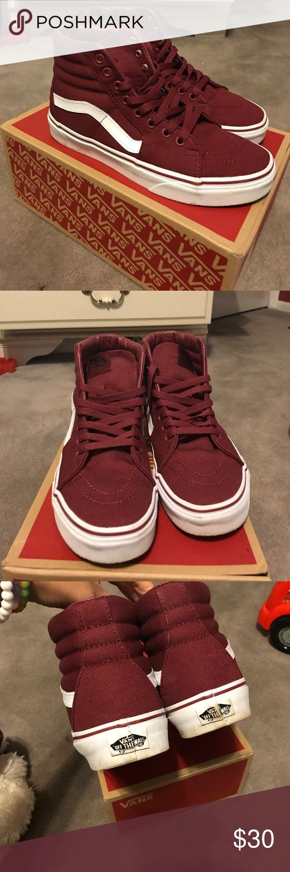 Burgundy vans high tops High top vans worn twice great condition comes with box 6.5 men's 8 women's Vans Shoes Sneakers