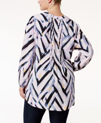 Melissa McCarthy Seven7 Trendy Plus Size Chevron-Print Tunic - Black 2X