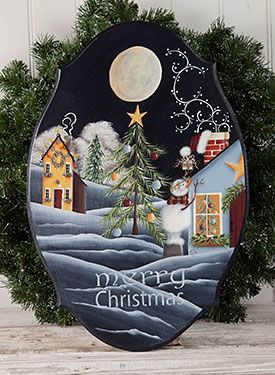 Christmas Magic by Linda Samuels. Exclusive Free Downloadable Painting Instruction Packet and wood surface available at www.ArtistsClub.com