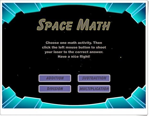 """""""Space Math"""" es un juego en el que hay que disparar sobre los números que vienen del espacio. Eso sí, sobre los números que sean resultado de las operaciones planteadas (suma, resta, multiplicación o división). Es sencillo pero hay que hacerlo rápido para que no desaparezcan los números y alcanzar el máximo de puntuación en un tiempo limitado. Se puede jugar desde 1º de Primaria empezando por la suma hasta llegar a la división en niveles posteriores."""