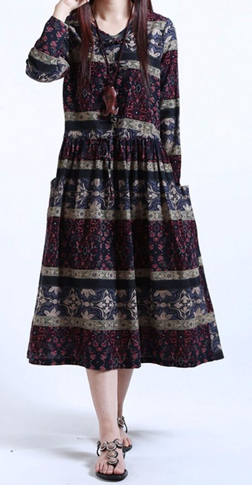New women loose fit over plus size ethnic retro flower pocket dress tunic chic #unbranded #Maxi #Casual