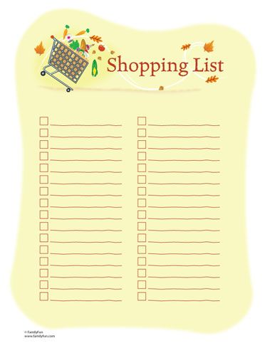 Shopping List (Printable Activity for Kids and Parents) | Printable Planners for Thanksgiving | FamilyFun