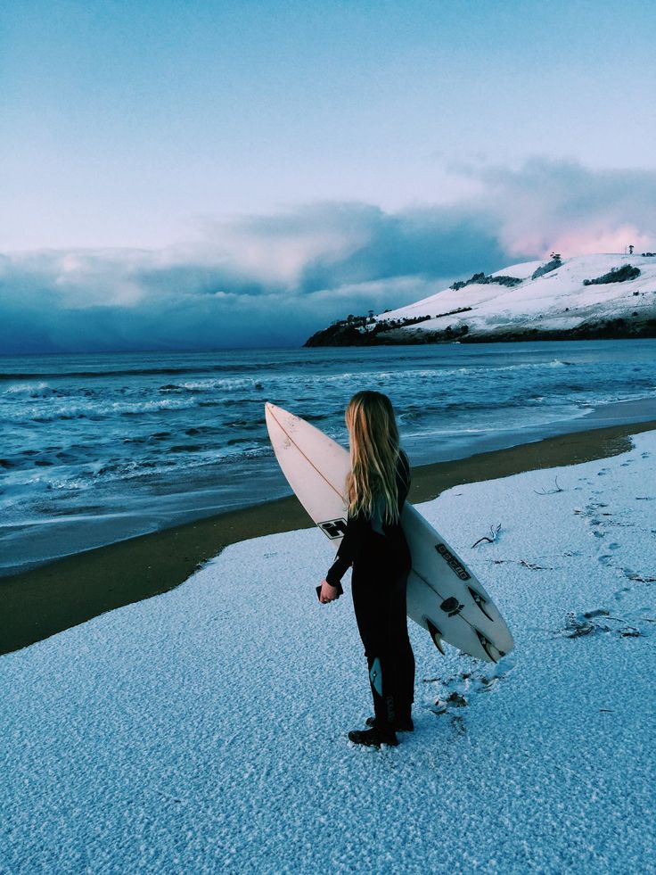 Not since 1986 has #Hobart awoken to snow down to sea level in what is now labeled #snowbart. And this shot of his surfer/daughter Tabbi pondering the waves at Clifton Beach has become a truly iconic shot. The last of its type was skier Les Jackson on the Tasman Bridge way back then. Photo credit: Pat Fasnacht. #surfing #tasmania #winter #iconshots.
