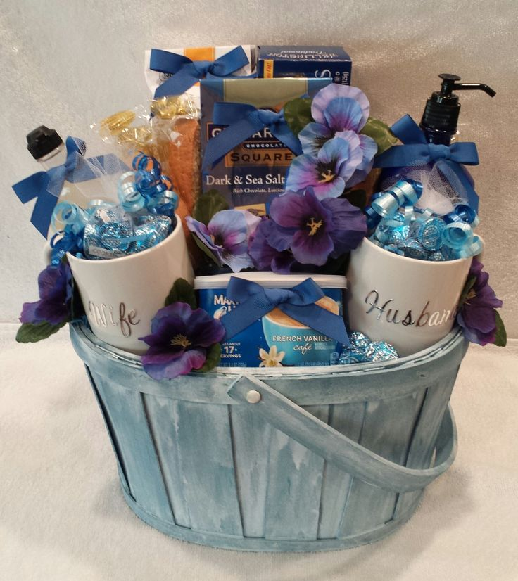 You, Me, and Coffee Anniversary Gift Basket in Shades of Blue by Gifted Occakesions n Baskets