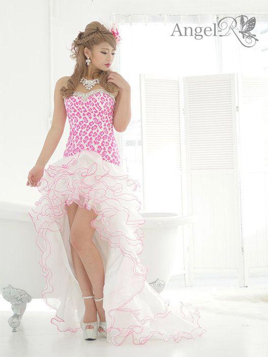 ヒョウ柄ゴージャスHigh&Low前ミニウエディングドレス,AngelR,,キャバドレス,小悪魔アゲハ,AR4701,