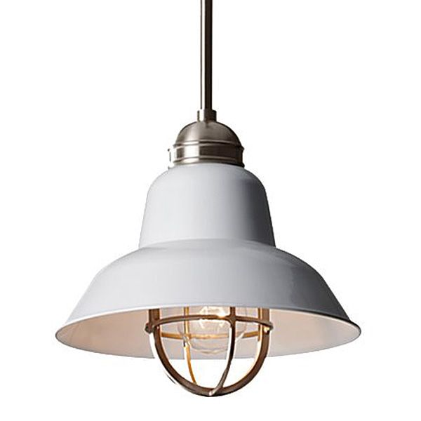 Murray feiss urban renewal 1 light mini pendant with metal shade and cage brushed steel glossy white indoor lighting pendants