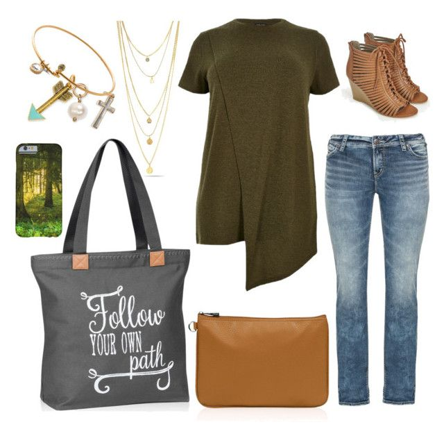 """""""Follow Your Own Path"""" by jen-mccormick on Polyvore featuring Silver Jeans Co., River Island, JustFab, Pretty Green, plussize, thirtyone, 31Fashion and graphicbags"""