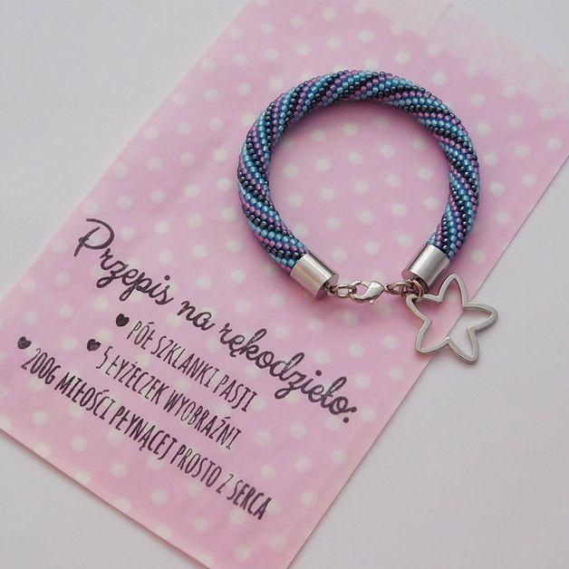 Bransoletka wąż kolor hematytu, błękit, fiolet - NaLeMi-jewellery - Bransoletki i opaski na rękę