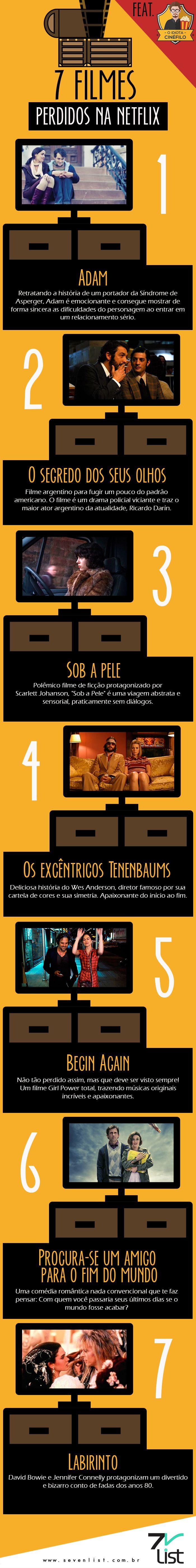#Infográfico #Design #Filmes #Dicas #Cinema #Cinema #Netflix #SevenList