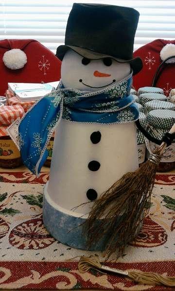 Image result for terra cotta pot snowman