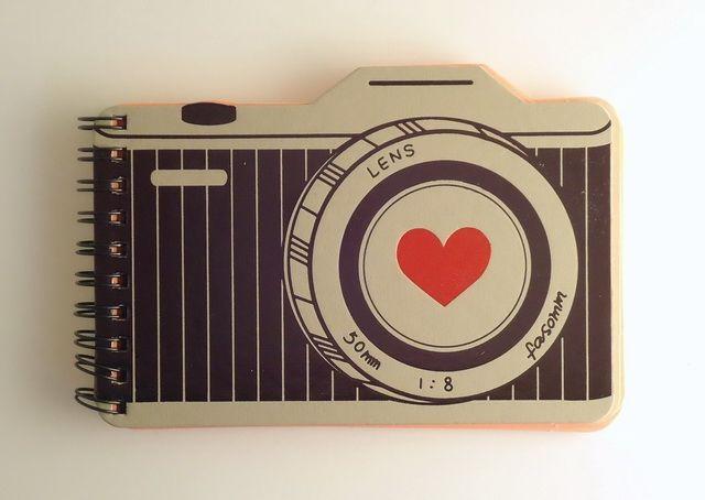 - Camera die-cut notebook